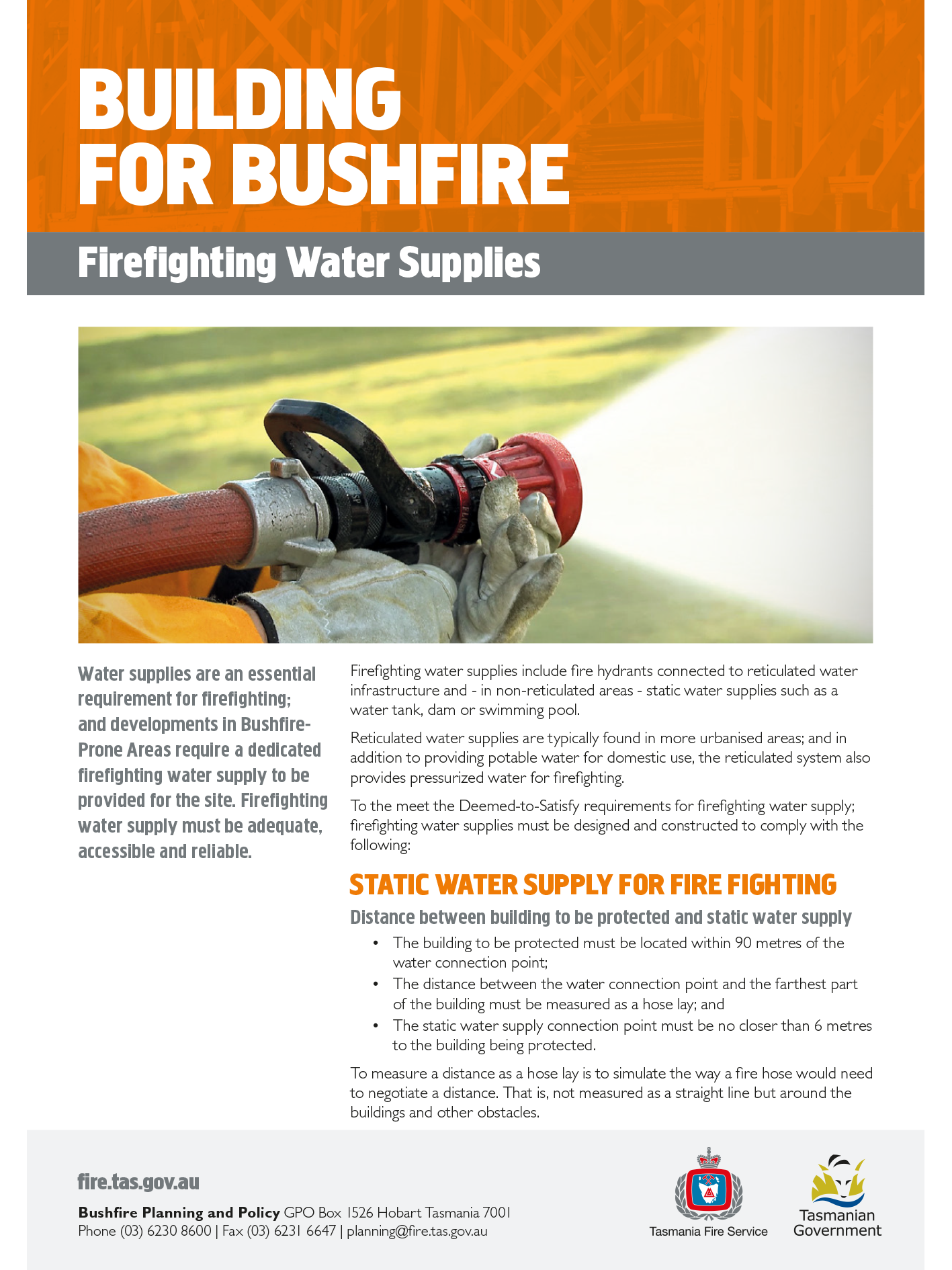 Building for Bushfire Firefighting Water Supplies