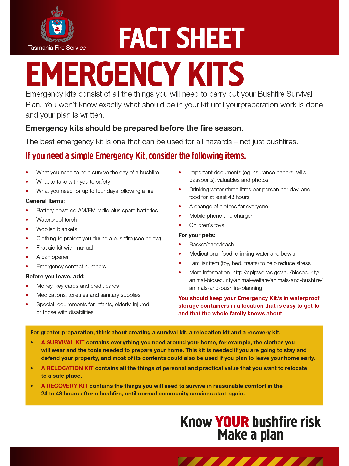Emergency Kits Fact Sheet