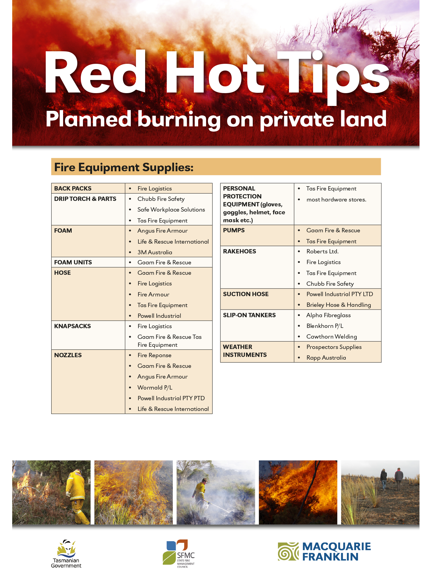 Red Hot Tips Fire Equip List