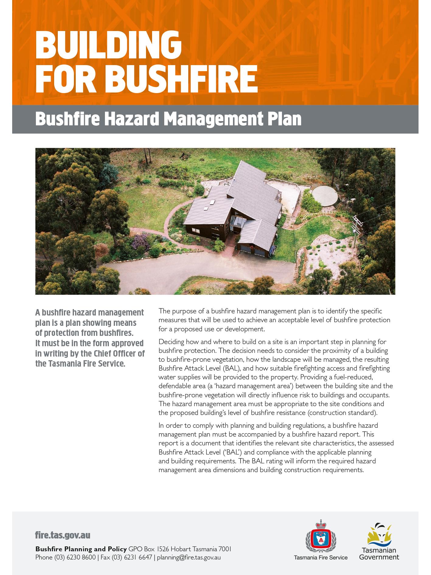 TFS Building for Bushfire Hazard Management Plans Final