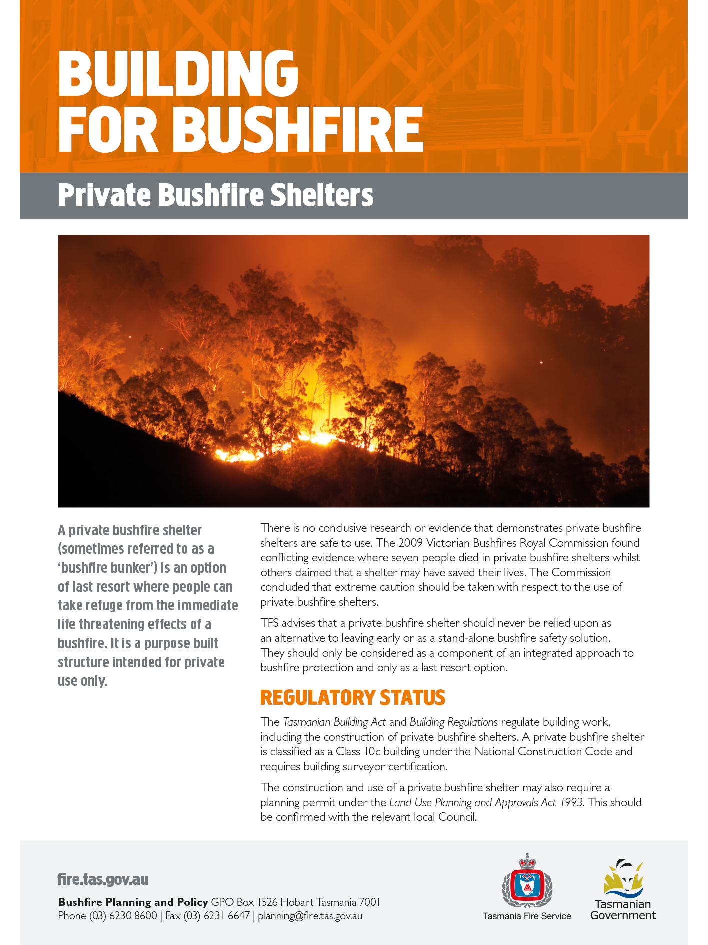 TFS Private Bushfire Shelters Info Sheet